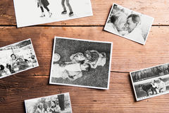 Black-and-white pictures of seniors. Studio shot, wooden backgro. Various black and white pictures of senior couple in love. Studio shot on wooden background royalty free stock photography
