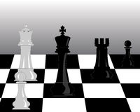 Black and white pieces of chess Stock Photos