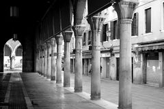 Black and white pillars in Venice royalty free stock photo