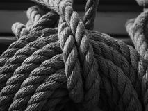 Black and white, pin rail and lines on sailboat Stock Photography