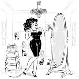 Black and white pin-up woman in fashion shop try the dress and shoes in front of the mirror, drawn illustration clip a. Black and white pin-up woman in fashion royalty free illustration