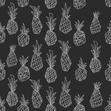Black and White Pineapple doodle Seamless Pattern vector illustration
