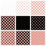 Black, white and pink vector background set with p. Seamless black, white and pink vector pattern or background set with big and small polka dots. For desktop royalty free illustration