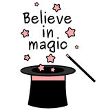 Black white pink believe in magic quote with magic wand and a top hat illustration Royalty Free Stock Photos