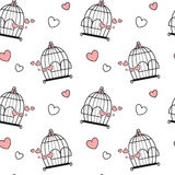 Black white pink cute lovely cartoon birdcage with hearts seamless pattern background illustration Royalty Free Stock Images
