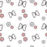 Black white pink daisy flowers and butterflies seamless pattern background illustration Stock Images