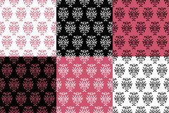 Black white and pink damask stylized seamless patterns set, vector Stock Photography