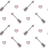 Black white pink seamless pattern background illustration with arrow with bow and heart Stock Image