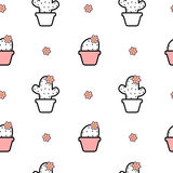 Black white pink seamless pattern background illustration with cartoon cactus Stock Images
