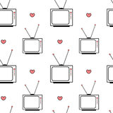 Black white pink vintage retro cartoon television seamless pattern background illustration with hearts Royalty Free Stock Photography