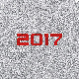 Black-and-white pixel background with 2017 on a white noise.. Vector graphic pattern Royalty Free Stock Photography