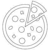 Black and white pizza slice fast food icon poster. Royalty Free Stock Photo
