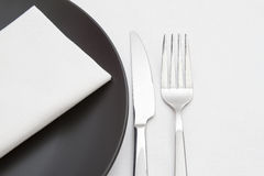 Black and white place setting Stock Images