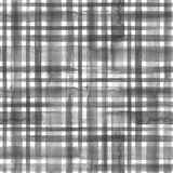 Black and white plaid background. Black and white grunge gingham tartan plaid abstract geometric seamless texture background. Watercolor hand drawn seamless vector illustration