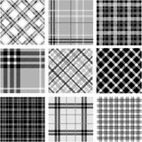 Black & white plaid patterns set Stock Photos