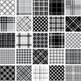 Black & white plaid patterns set Stock Photo