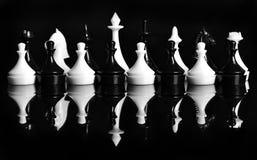 Black and white plastic chess stock image
