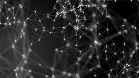 Black white plexus with dots, lines, triangles. Background information for social networks, the Internet, science. Computer networks, technologies. Loop stock footage