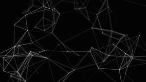 Black white plexus with dots, lines, triangles. Background information for social networks, the Internet, science. Computer networks, technologies. 4k stock video