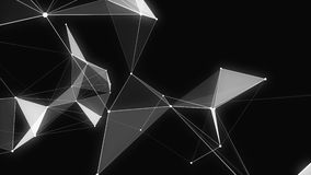 Black white plexus with dots, lines, triangles. Background information for social networks, the Internet, science stock video