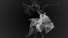 Black white plexus with dots, lines, triangles. Background information for social networks, the Internet, science stock footage