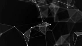 Black white plexus with dots, lines, triangles. Background information for social networks, the Internet, science. Computer networks, technologies. Loop stock video footage