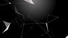 Black white plexus with dots, lines, triangles. Background information for social networks, the Internet, science stock video footage