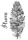 Black white plume on the  background with lettering. Vector illustration. Stock Images