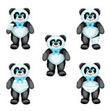 Black and white plush panda with bandages around the different parts of its body Royalty Free Stock Photography