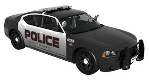 Black and white police car Stock Image