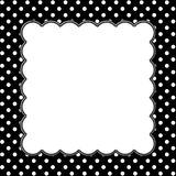Black and White Polka Dot Background with Embroidery Royalty Free Stock Photo