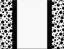 Black and White Polka Dot Frame with Ribbon Background Stock Image