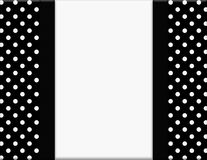 Black and White Polka Dot Frame with Ribbon Background Stock Photo