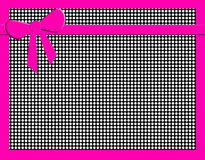 Black and white polka dots with hot pink bow. Black and white polka dotted background with hot pink bow and trim for the girly girl in you Royalty Free Stock Image