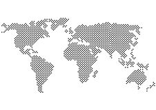 Black and white polka dots world map silhouette Stock Photos