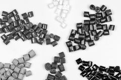Black and white polymer granulate Royalty Free Stock Images