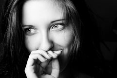 Black and white portrait. Of beautiful girl Stock Images