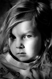 Black and white portrait. Detailed face of young girl. Black and white Royalty Free Stock Images