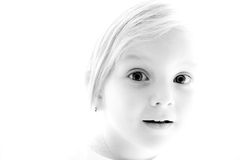 Black and white portrait. Detailed face of young girl. Black and white Stock Image