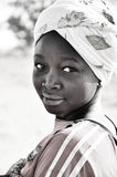 Black and white portrait of  african  women. In village , Hausa tribe, Niger, West Africa Stock Photos