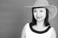 Black and White Portrait of an Asian Woman #3 Stock Image