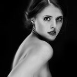 Black and white portrait of attractive young woman Royalty Free Stock Image
