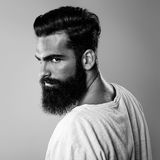 Black and white portrait of beard man Stock Photography
