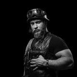 Black and White portrait of Bearded Biker Man Stock Photos