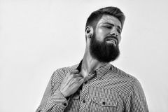 Black and white portrait of bearded man in remorse or regret Royalty Free Stock Images