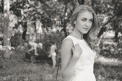 Black and white portrait of beautiful blond young Stock Photos