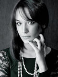 Black and white portrait of beautiful brunette Royalty Free Stock Photo