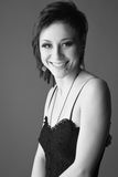 Black and white portrait of a beautiful brunette Royalty Free Stock Image