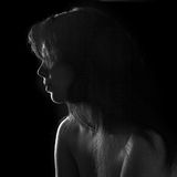 Black and white portrait of a beautiful dark-haired girl Stock Image