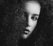 Black and white portrait of a a beautiful female fashion mode Stock Photography